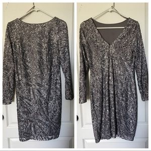 7651801f14cf MARINA Dresses - Silver long sleeve sequins party dress size 6